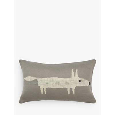 Scion Mr Fox Knitted Cushion, Silver