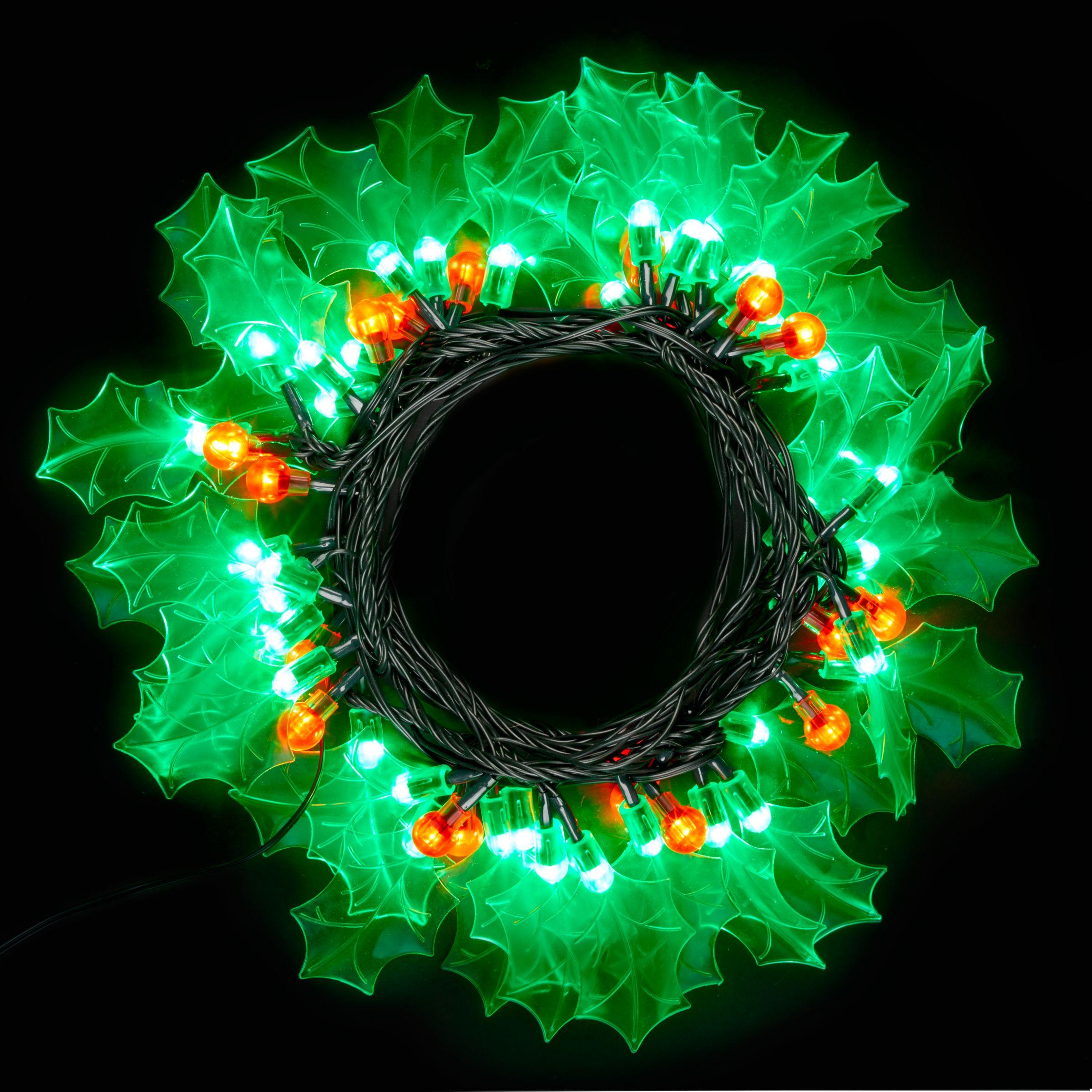 LED 'Holly' Christmas Lights, 8m