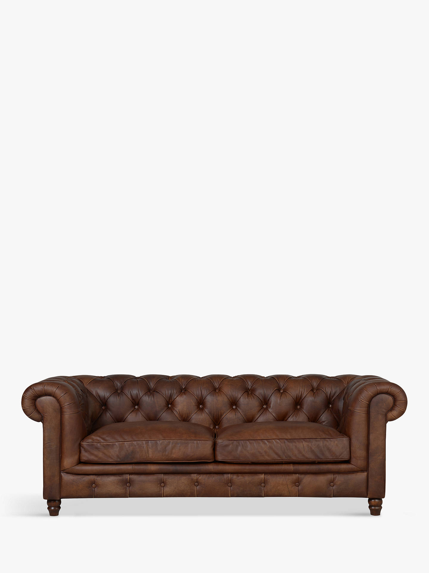 BuyHalo Earle Aniline Leather Chesterfield Medium Sofa, Antique Whisky Online at johnlewis.com