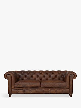 Halo Earle Aniline Leather Chesterfield Medium Sofa, Antique Whisky