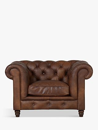 Halo Earle Aniline Leather Chesterfield Armchair, Antique Whisky