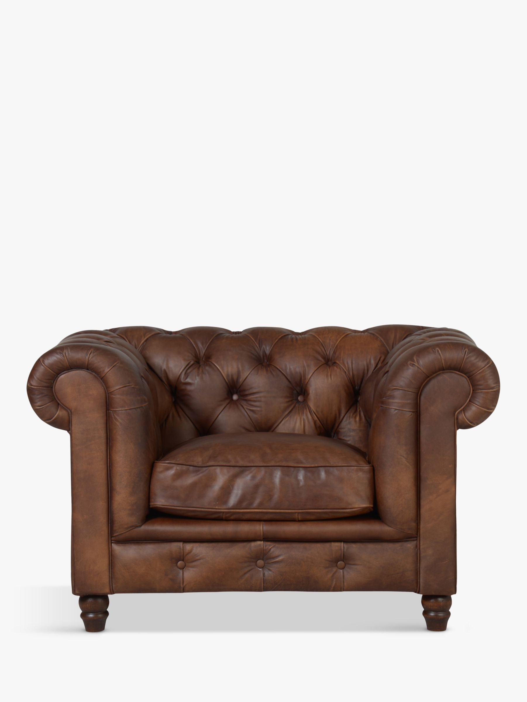 Halo Halo Earle Chesterfield Leather Armchair, Antique Whisky