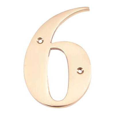 The House Nameplate Company Brass Numeral 6, H15cm