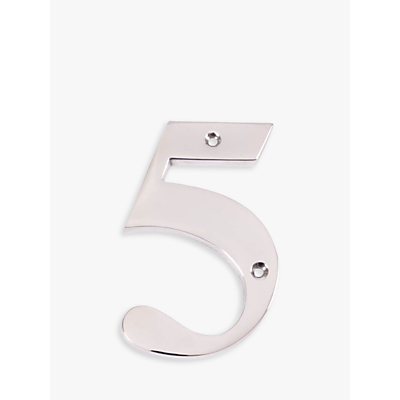 The House Nameplate Company Chrome Numeral 5, H15cm