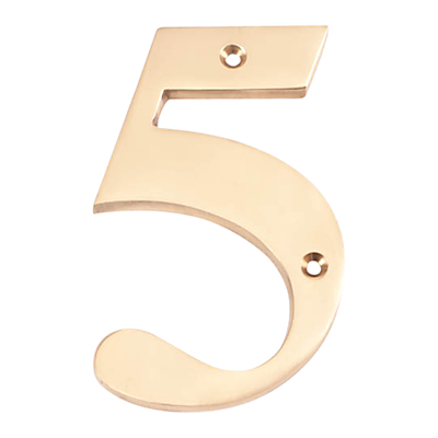 The House Nameplate Company Brass Numeral 5, H15cm