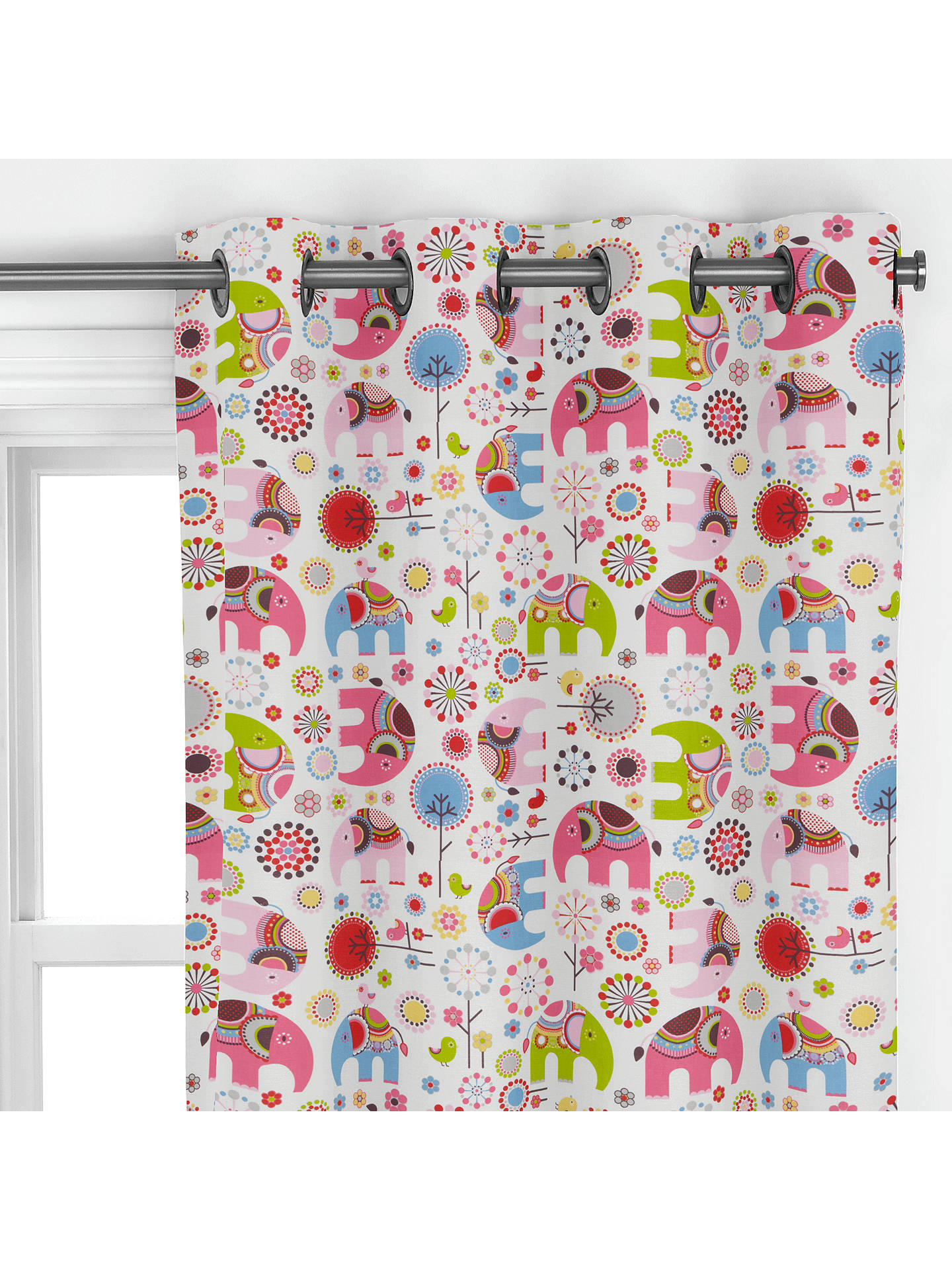 Buylittle home at John Lewis Abbey Elephant Curtain, Pink Online at johnlewis.com