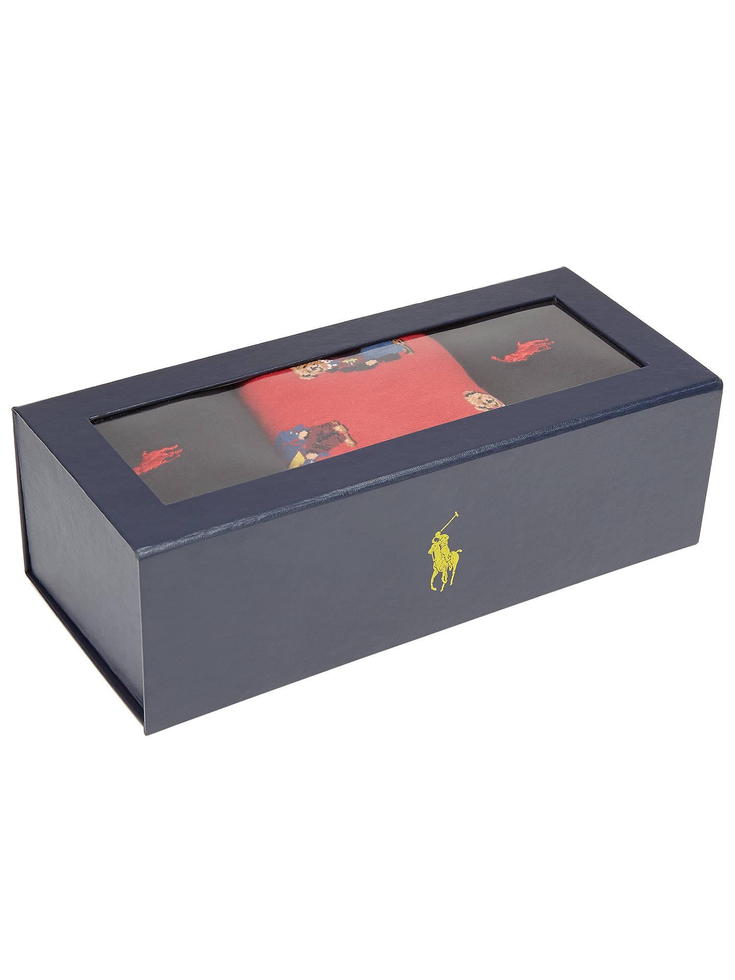 b853b039b8826 Buy Polo Ralph Lauren Bear Print Plain Cotton Sock Gift Box
