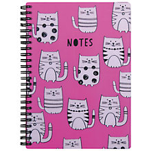 Buy Go Stationery Cats  A5 Notebook, Pink Online at johnlewis.com