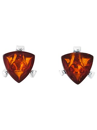 Be-Jewelled Sterling Silver Cognac Baltic Amber Triangular Stud Earrings, Amber