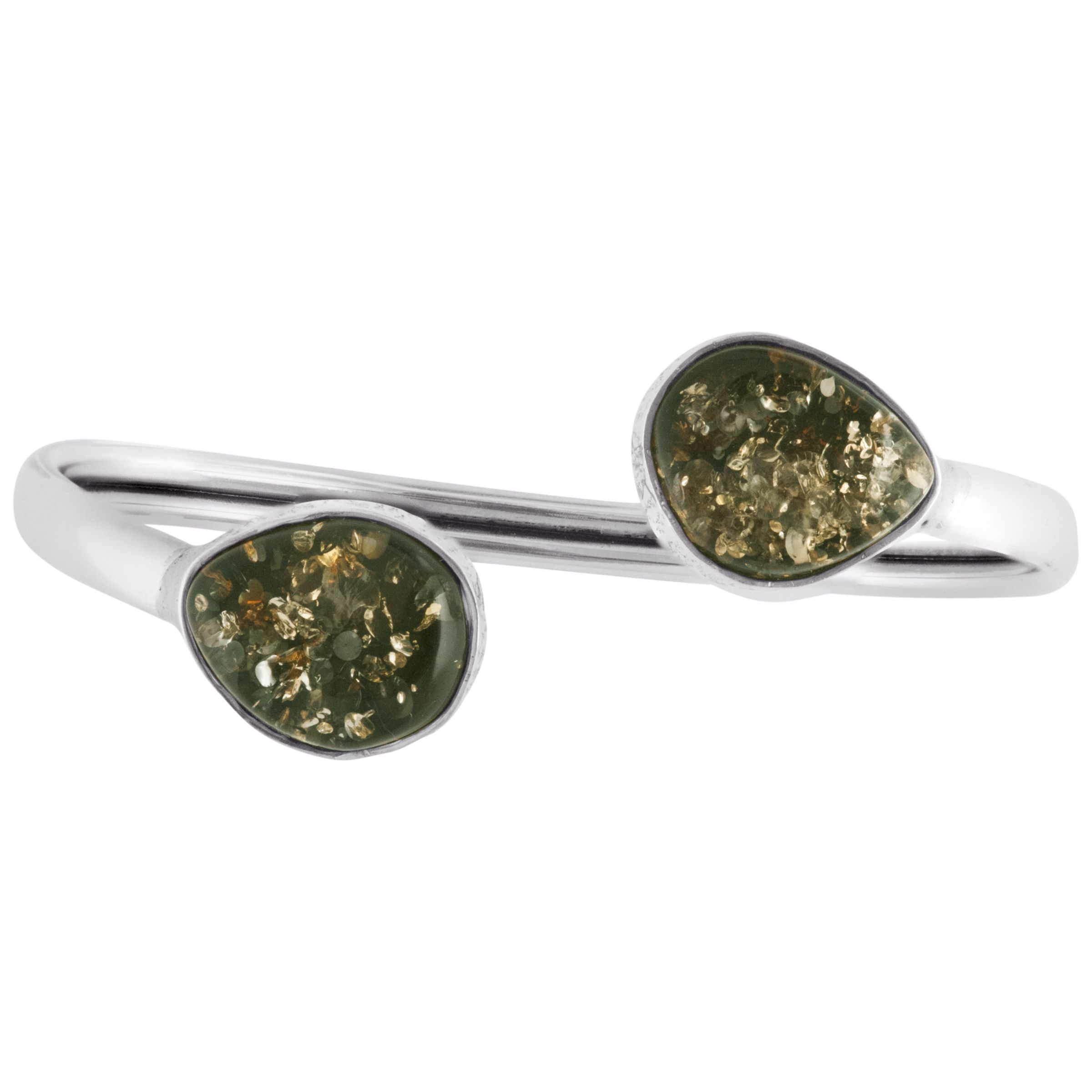 Be-Jewelled Be-Jewelled Sterling Silver Green Amber Cuff Bangle, Amber