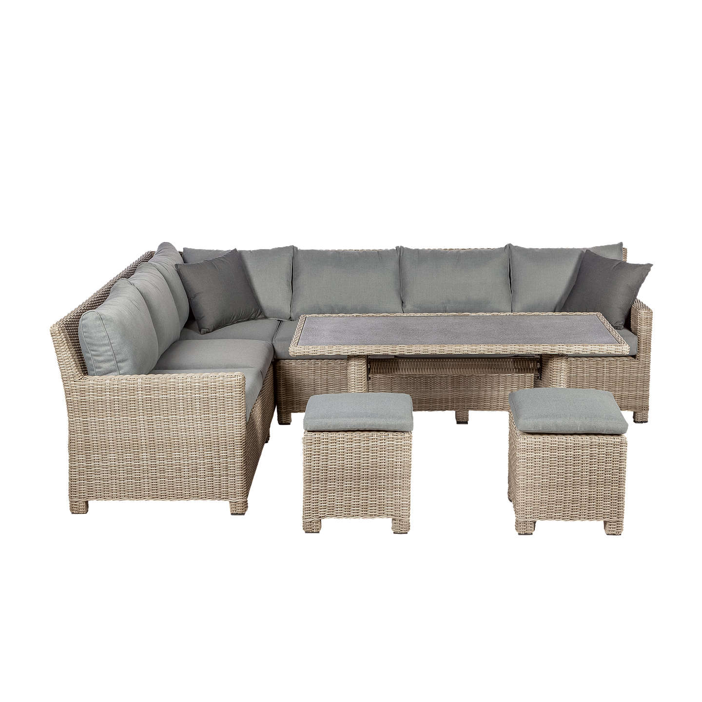 Royalcraft Wentworth 6 Seater Garden Modular Corner Dining Table And Chairs Set Grey At John Lewis