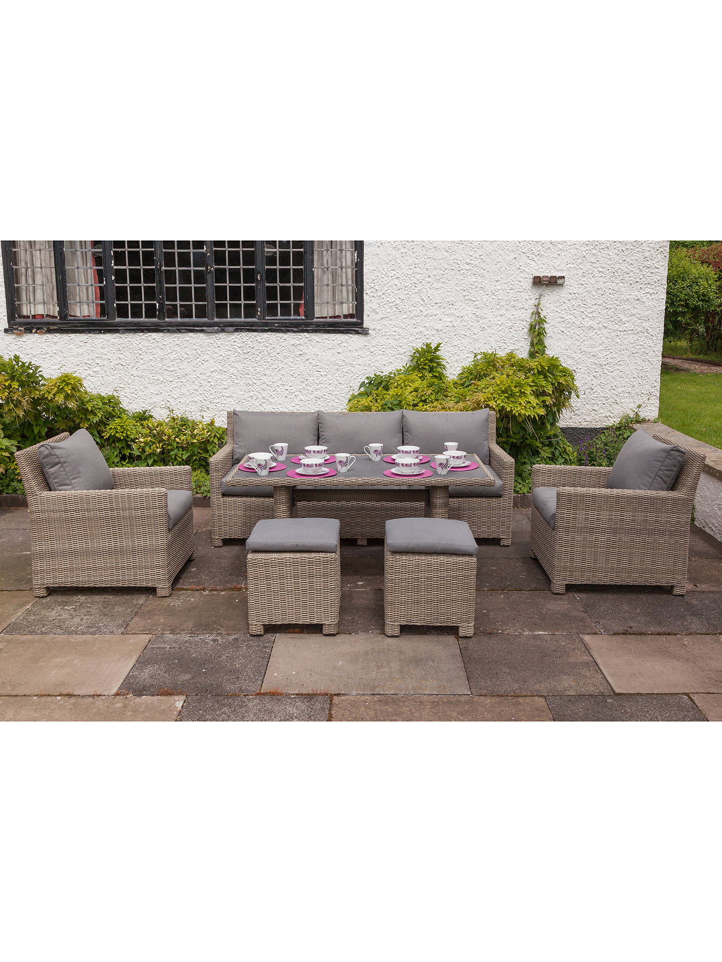 BuyRoyalcraft Wentworth 7-Seater Garden Modular Sofa Dining Table and Chairs Set Online at johnlewis.com