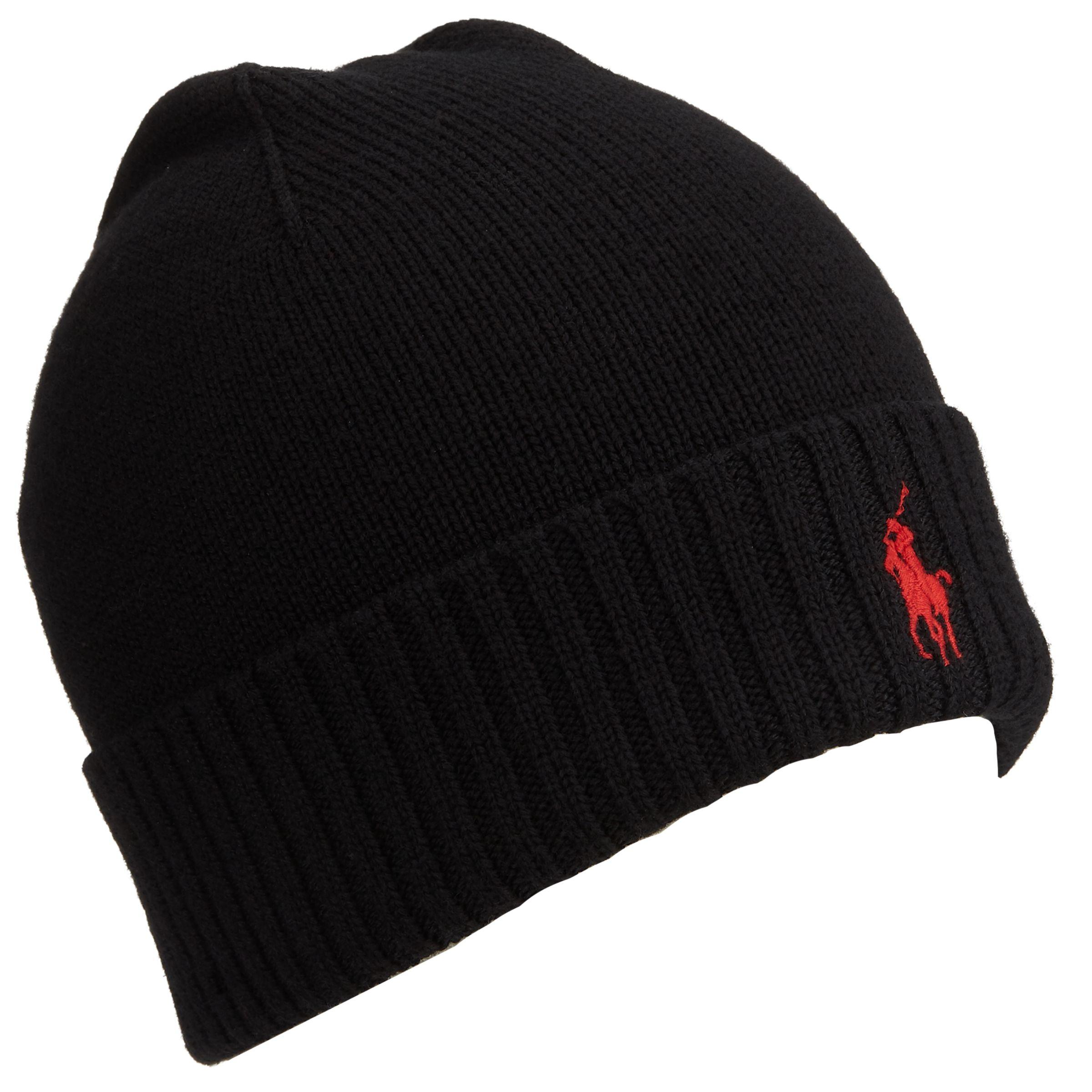 One Size Merino Wool Beanie Hat Black