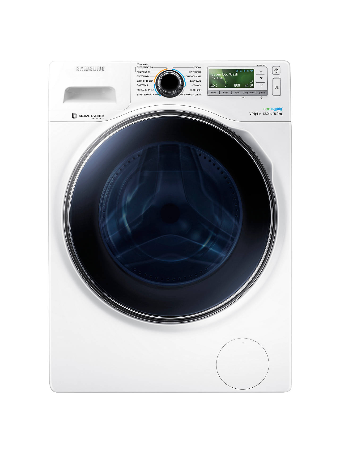 BuySamsung WD12J8400GW Freestanding Washer Dryer, 12kg Wash/8kg Dry Load, A Energy Rating, 1400rpm Spin, White Online at johnlewis.com