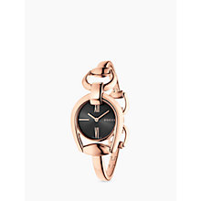 Buy Gucci YA139507 Women's Horsebit Gold Plated Bracelet Strap Watch, Rose Gold/Black Online at johnlewis.com