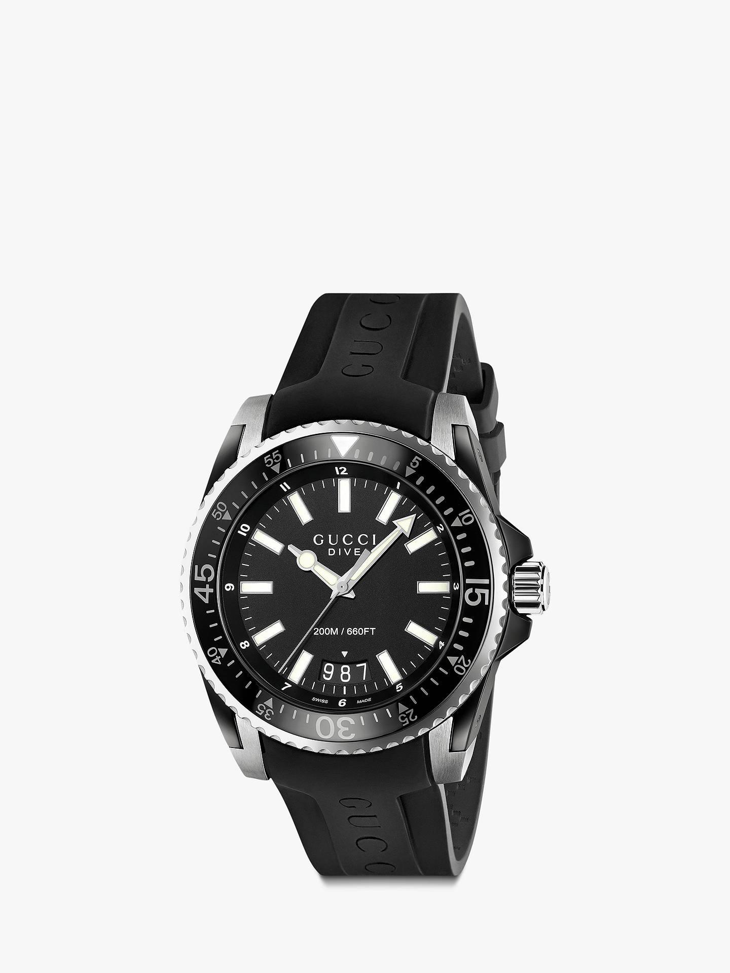 c5f34309d75 Buy Gucci YA136204 Men s Dive Date Rubber Strap Watch