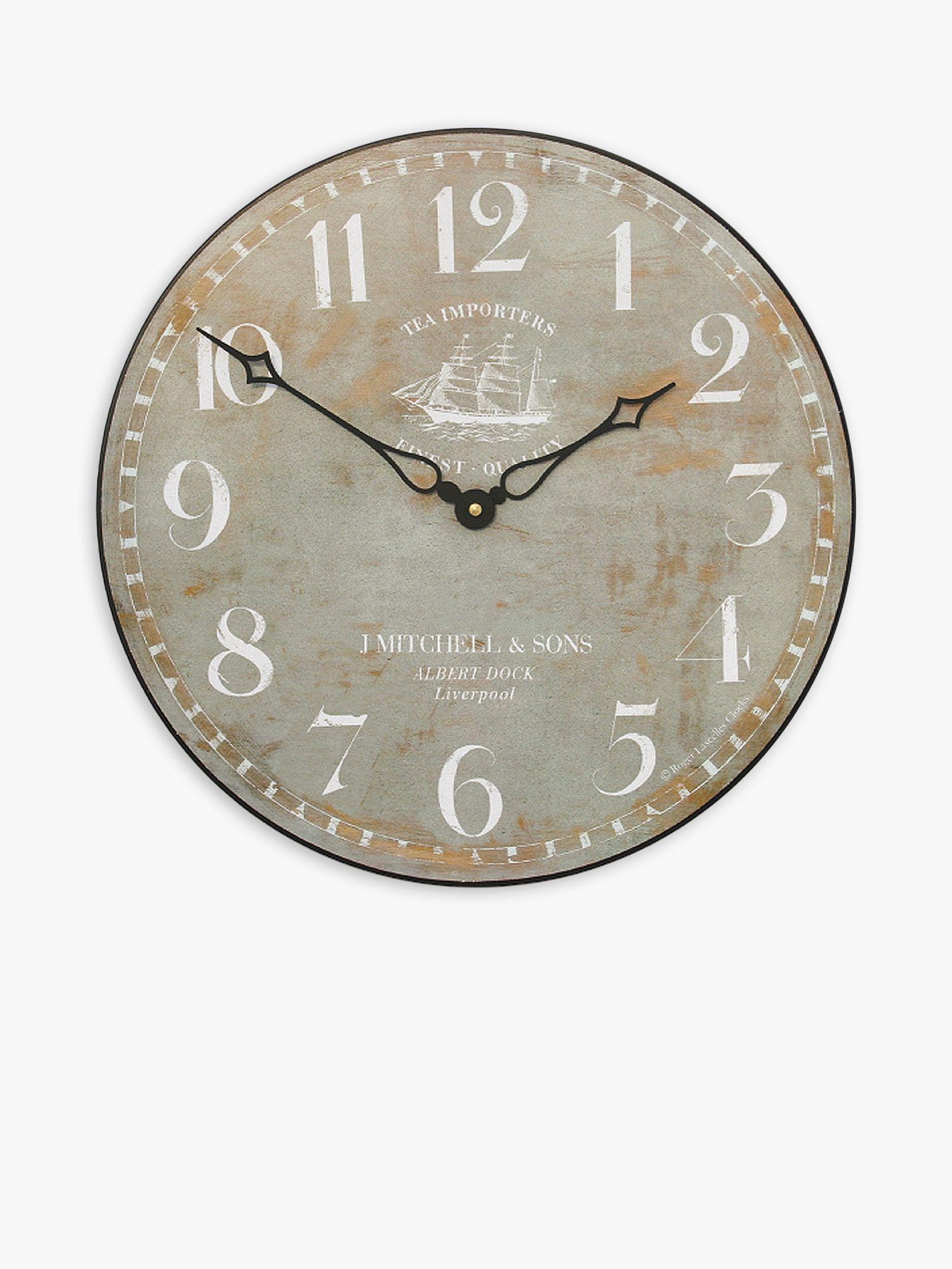 Lascelles Lascelles Tea Clipper Ship Wall Clock, Dia.36cm, Grey