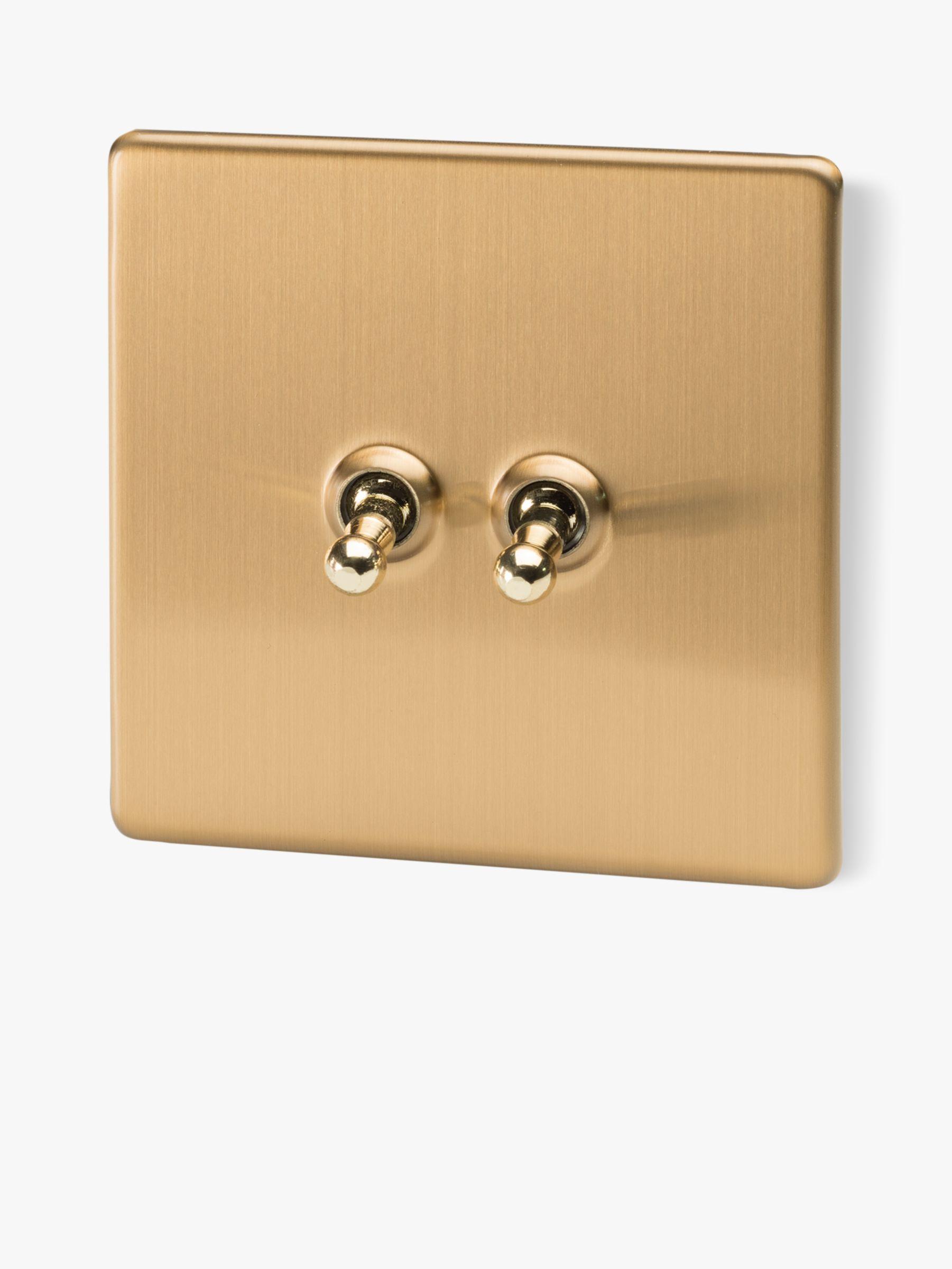 Varilight 2 Gang 2 Way Toggle Switch Brushed Brass At John Lewis Partners