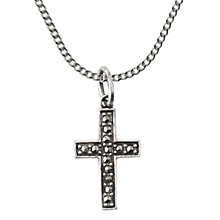 Buy Nina B Sterling Silver Marcasite Cross Pendant, Silver Online at johnlewis.com