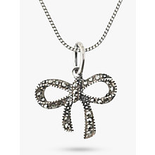 Buy Nina B Sterling Silver Marcasite Bow Pendant, Silver Online at johnlewis.com