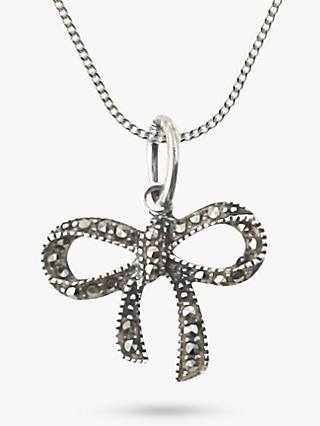 Nina B Sterling Silver Marcasite Bow Pendant, Silver