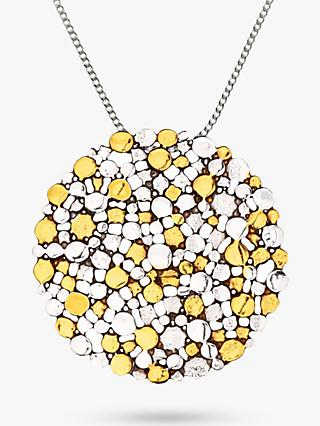 Nina B Large Textured Large Pendant Necklace, Silver/Gold