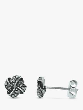 Nina B Marcasite Sterling Silver Cushion Stud Earrings, Silver