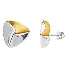 Buy Nina B Triangular Sterling Silver and Gold Stud Earrings, Silver/Gold Online at johnlewis.com
