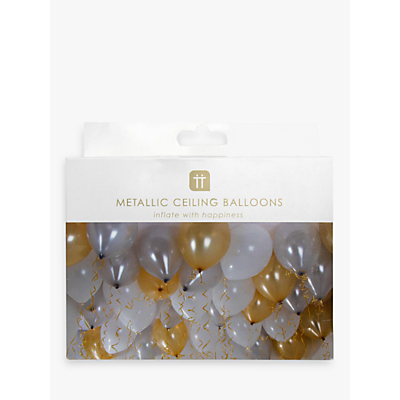 Product photo of Talking tables ceiling balloons pack of 30 gold white and metallic