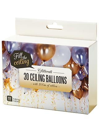 Talking Tables Ceiling Balloons, Pack of 30, Gold, White and Metallic