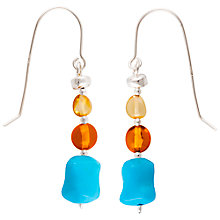 Buy Be-Jewelled Sterling Silver Baltic Amber Drop Earrings, Amber Online at johnlewis.com