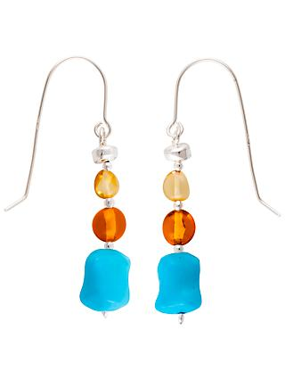 Be-Jewelled Sterling Silver Baltic Amber Drop Earrings, Amber