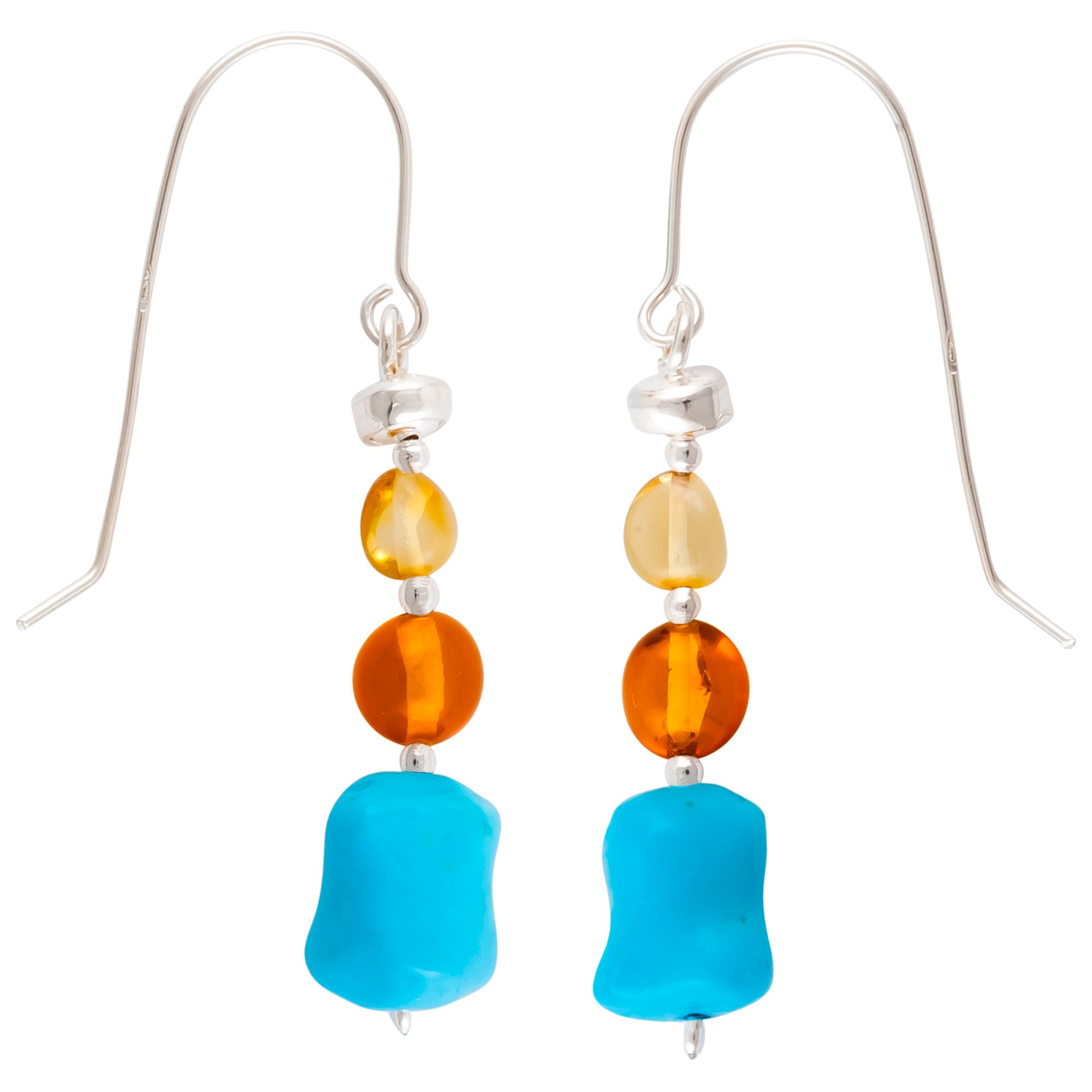 Be-Jewelled Be-Jewelled Sterling Silver Baltic Amber Drop Earrings, Amber