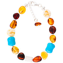 Buy Be-Jewelled Sterling Silver Baltic Amber Bead Bracelet, Amber Online at johnlewis.com
