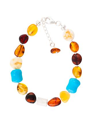 Be-Jewelled Sterling Silver Baltic Amber Bead Bracelet, Amber