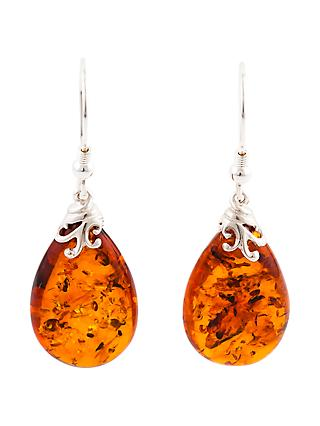 Be-Jewelled Sterling Silver Cognac Baltic Amber Drop Earrings, Amber