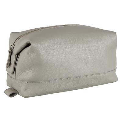 Croft Collection Leather Wash Bag, Light Steel