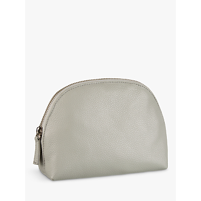 Croft Collection Half Moon Leather Makeup Bag, Storm