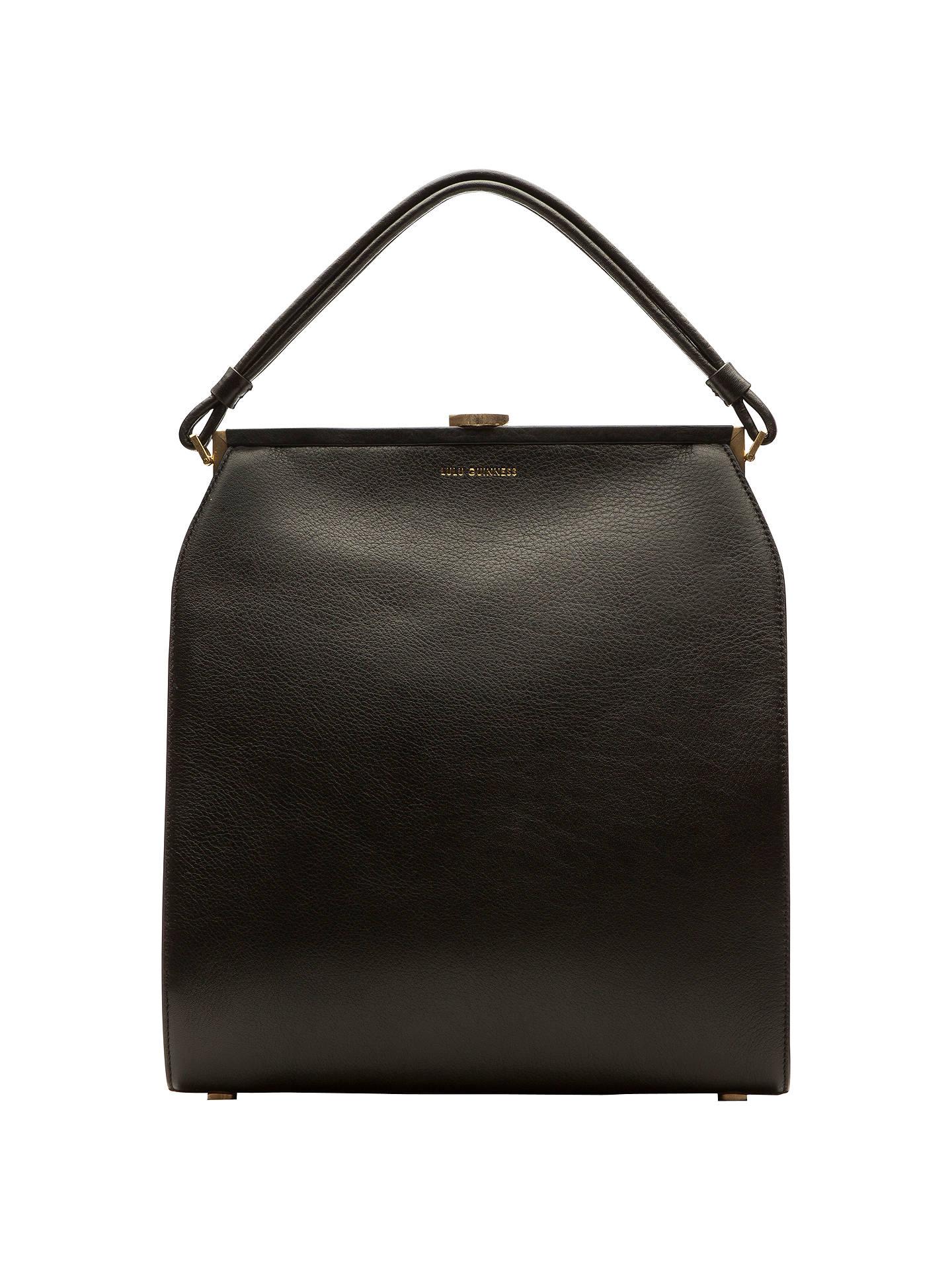 Lulu Guinness Victoria Leather Medium Shoulder Bag Black Online At Johnlewis