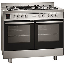 Buy AEG 49190GO-MN Dual Fuel Range Cooker, Stainless Steel Online at johnlewis.com