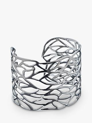 John Lewis & Partners Cut Out Leaf Cuff, Silver