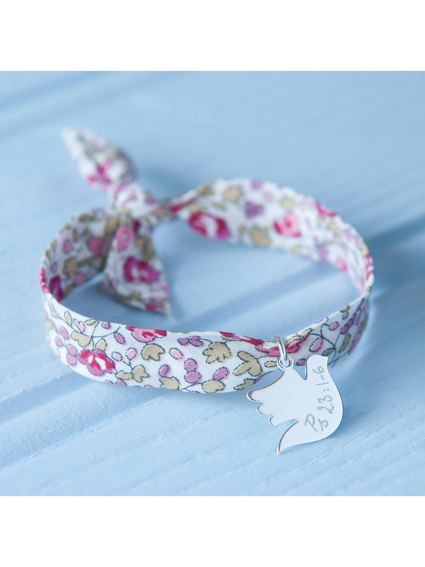 BuyMerci Maman Personalised Sterling Silver Dove Liberty Bracelet, Eloise Pink Online at johnlewis.com