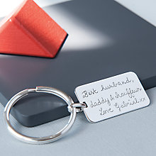 Buy Merci Maman Personalised Sterling Silver Dog Tag Keyring, Silver Online at johnlewis.com