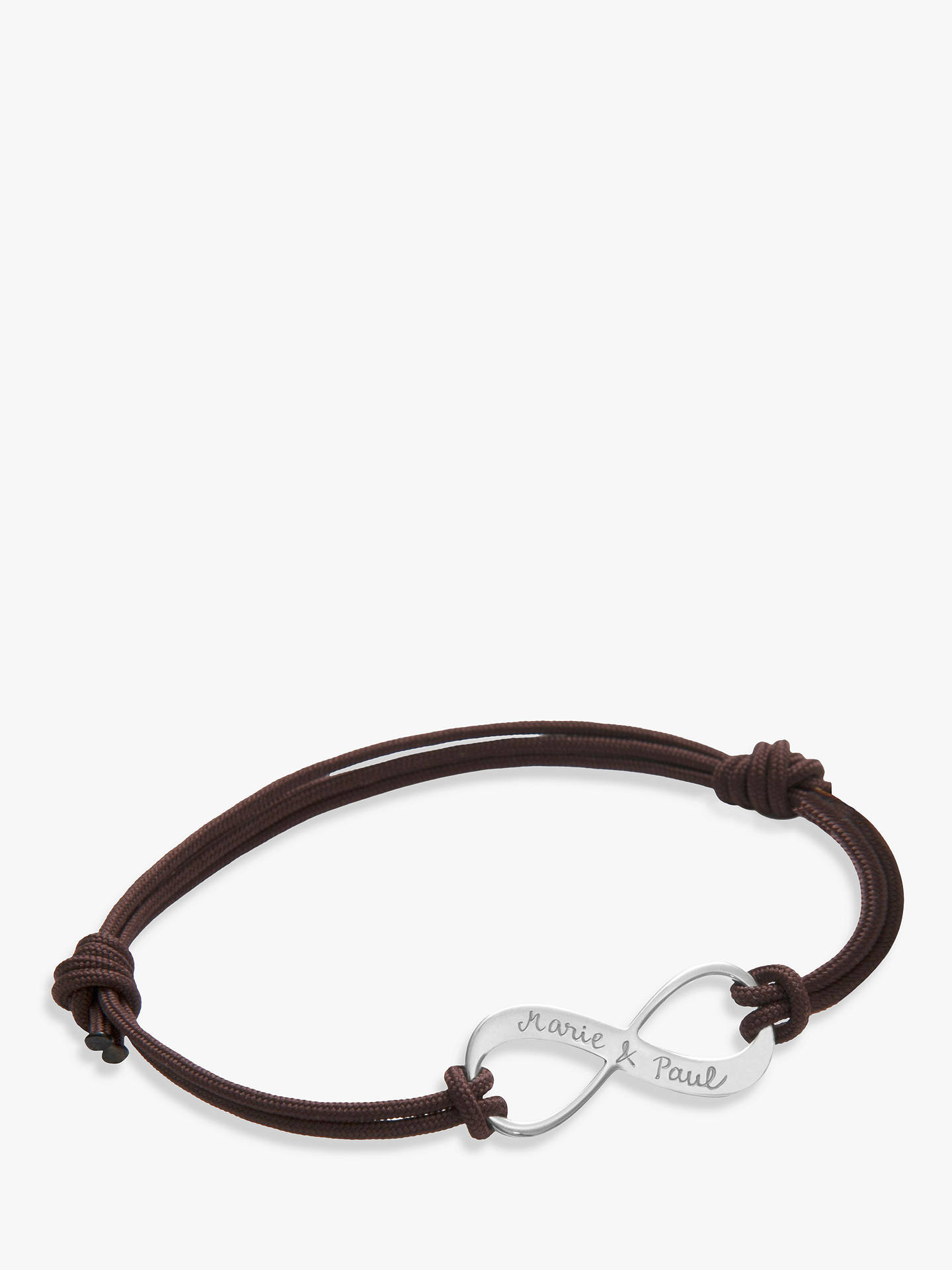 Buy Merci Maman Personalised Sterling Silver Men's Infinity Bracelet, Brown Online at johnlewis.com