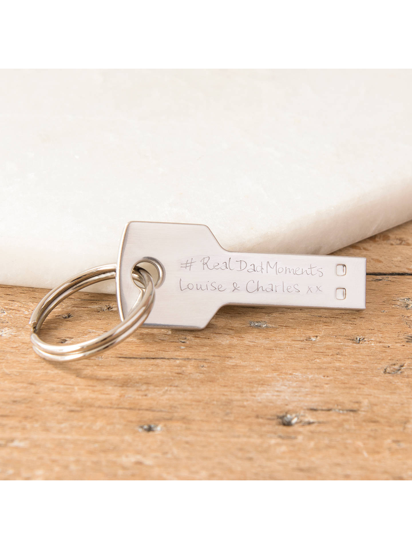 BuyMerci Maman Personalised Stainless Steel 16GB USB Drive, Silver Online at johnlewis.com