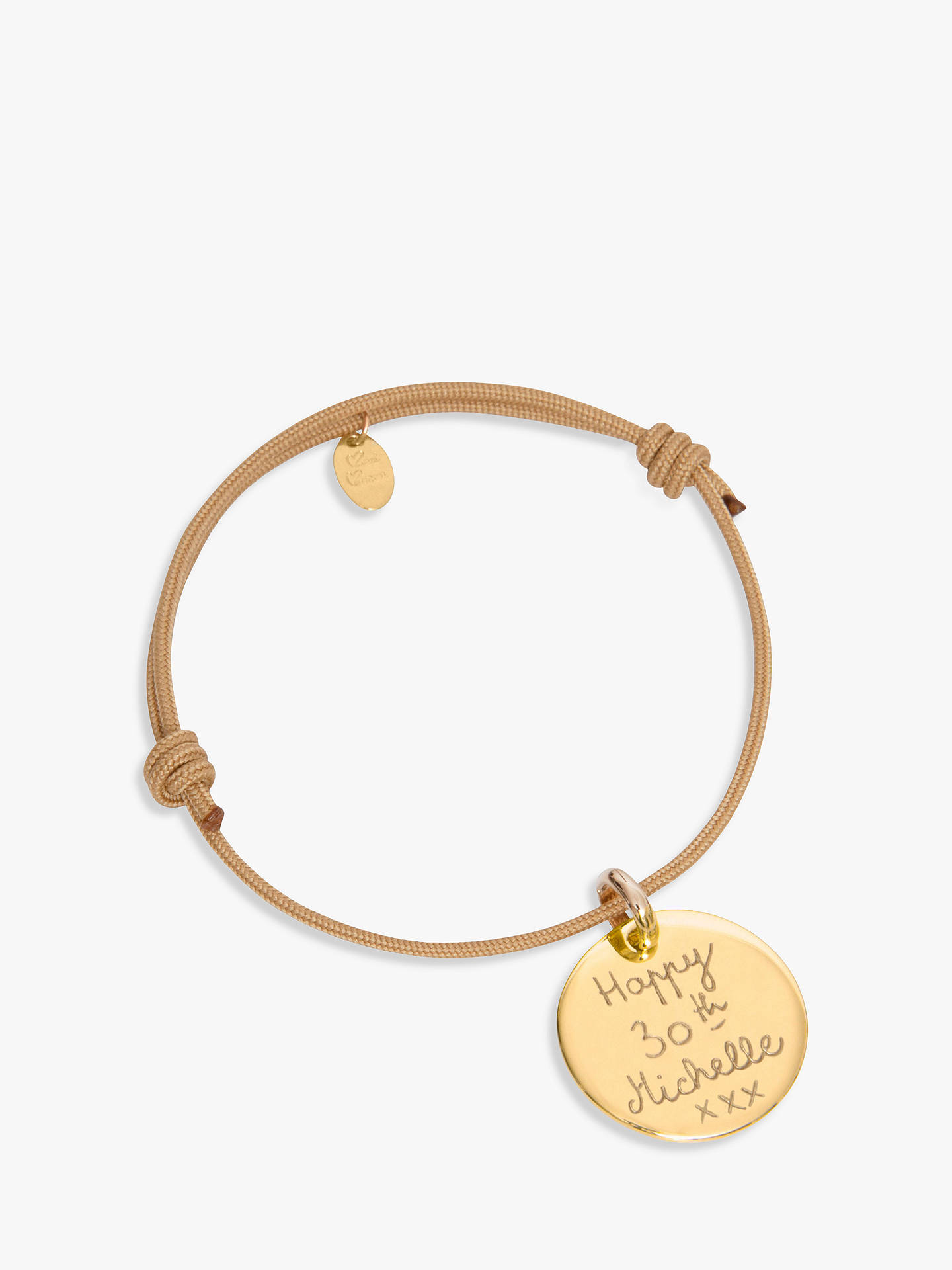 BuyMerci Maman Gold Plated Personalised Disc Bracelet, Beige Online at johnlewis.com