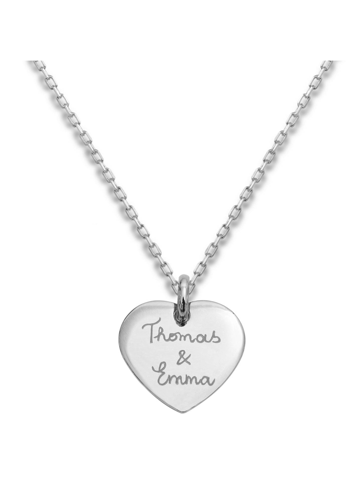 Buy Merci Maman Personalised Sterling Silver Heart Pendant Necklace, Silver Online at johnlewis.com