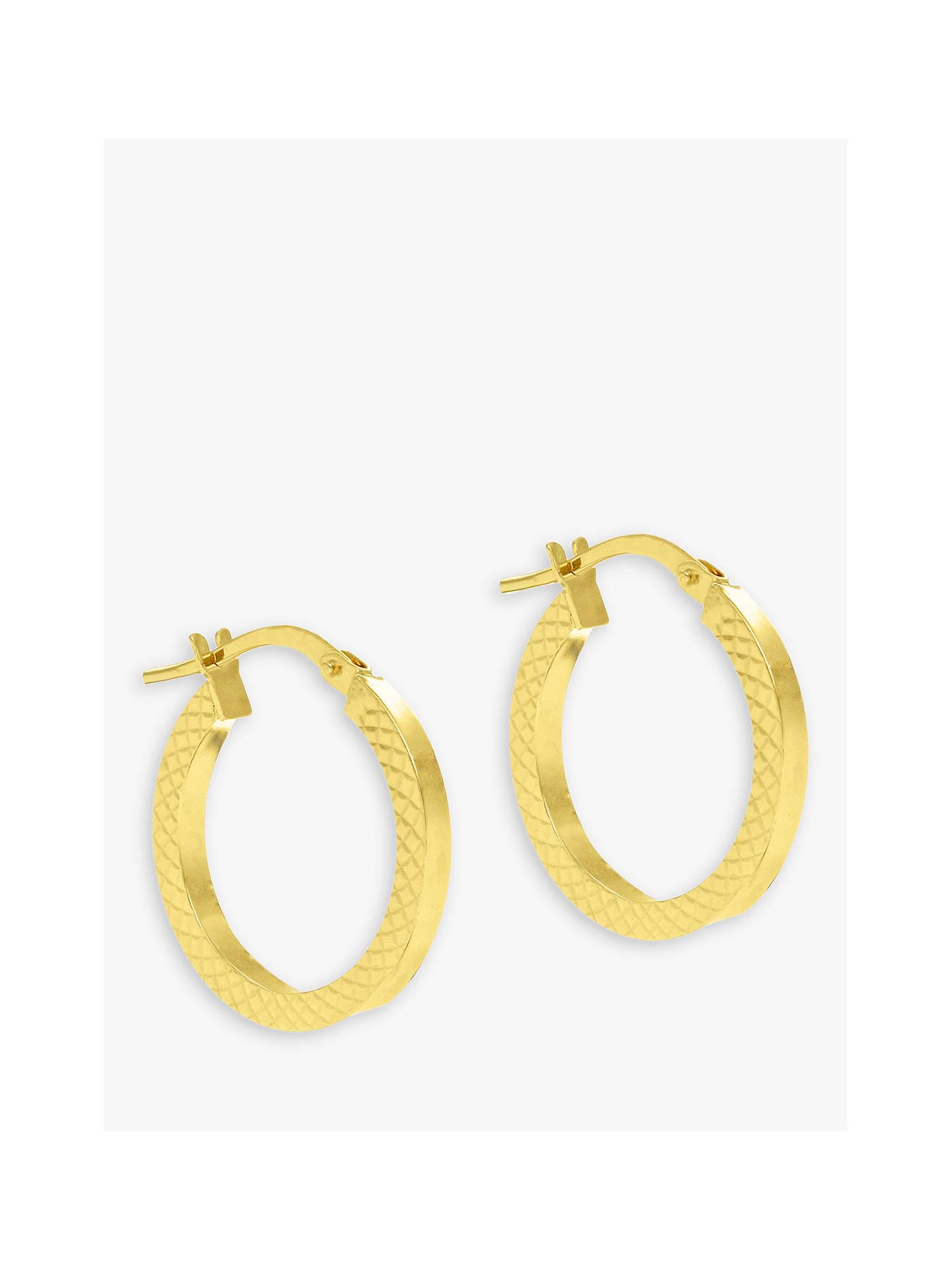 03605458b340f IBB 9ct Gold Cobra Hoop Earrings, Gold