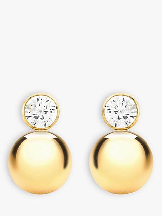 IBB 9ct Yellow Gold Cubic Zirconia Ball Stud Earrings, Gold