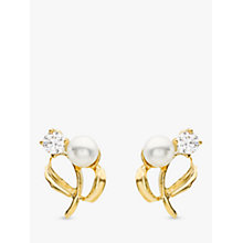 Buy IBB 9ct Yellow Gold Pearl Cubic Zirconia Stud Earrings, Yellow Gold Online at johnlewis.com